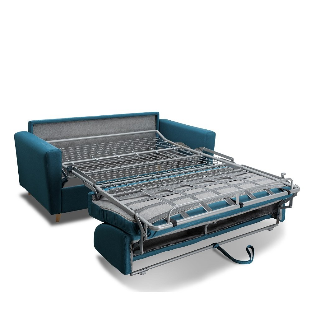 Canapé MEZZANO convertible EXPRESS matelas 16 cm sommier métal 140 cm tissu tweed bleu pétrole