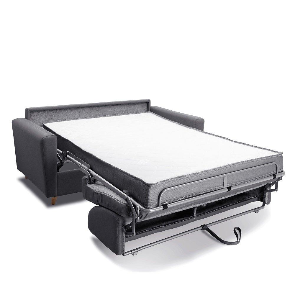 Canapé MEZZANO convertible EXPRESS matelas 16 cm sommier métal 140 cm tissu tweed gris graphite