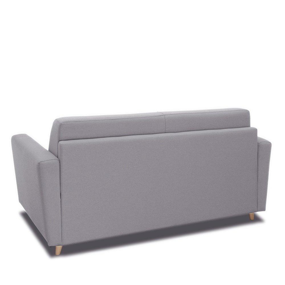 Canapé MEZZANO convertible EXPRESS matelas 16 cm sommier métal 140 cm tissu tweed gris clair