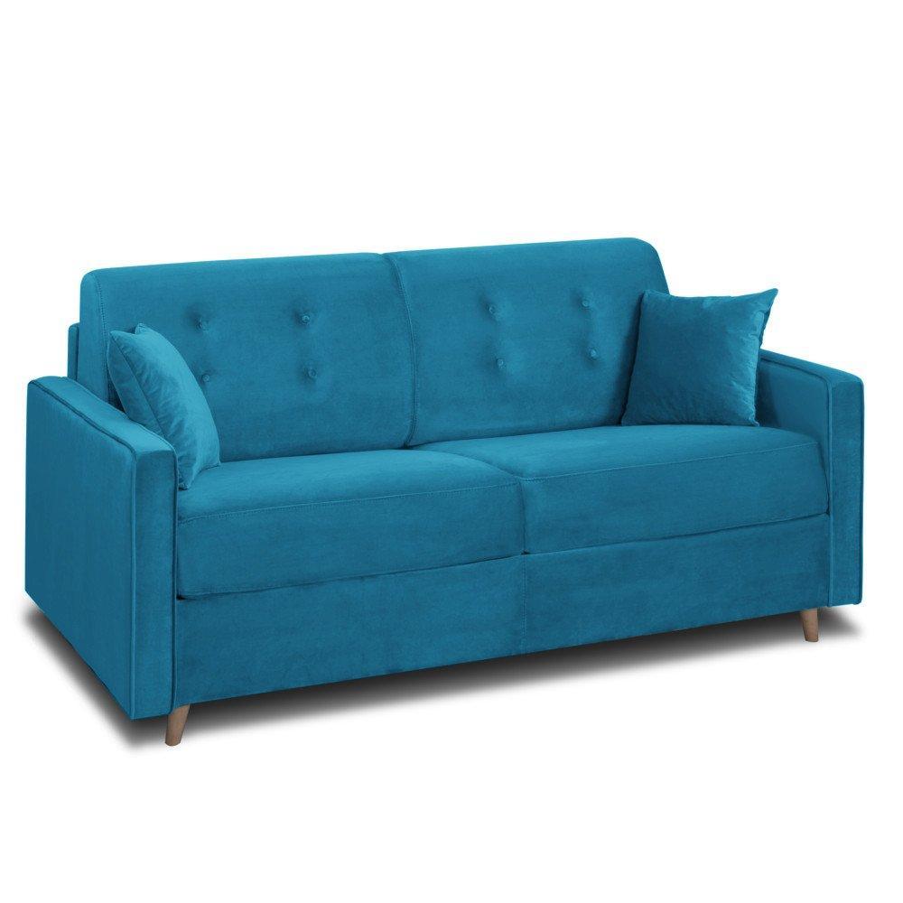 Canapé convertible 2 places Bleu Tissu Confort