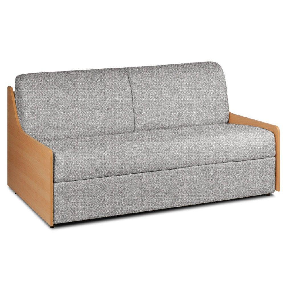 Canapé lit compact 3 places NORMANN 140cm matelas 14cm ouverture express accoudoirs bois tissu tweed gris silver