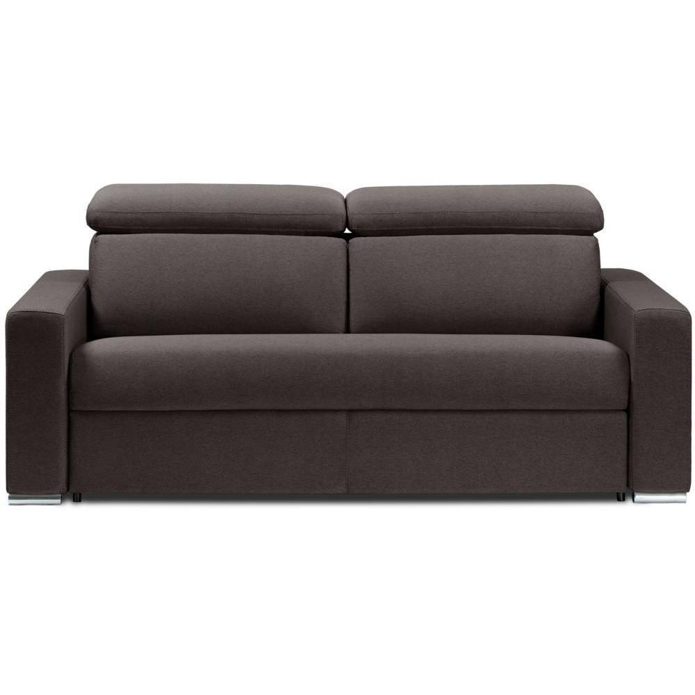 Canapé droit 2 places Marron Tissu Confort