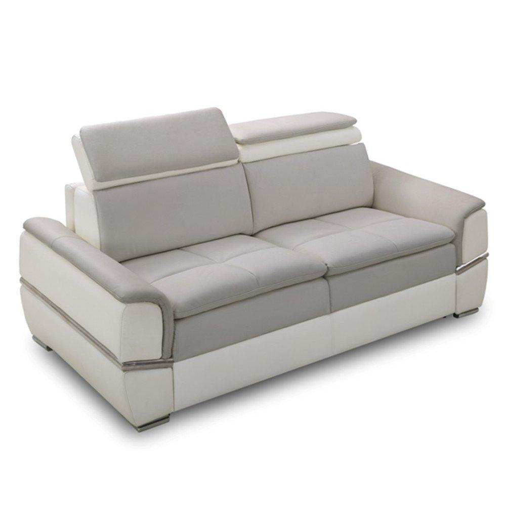 Canapé lit SALTILLO convertible 140cm RAPIDO matelas 15cm tissu nubuck bicolore blanc et gris clair
