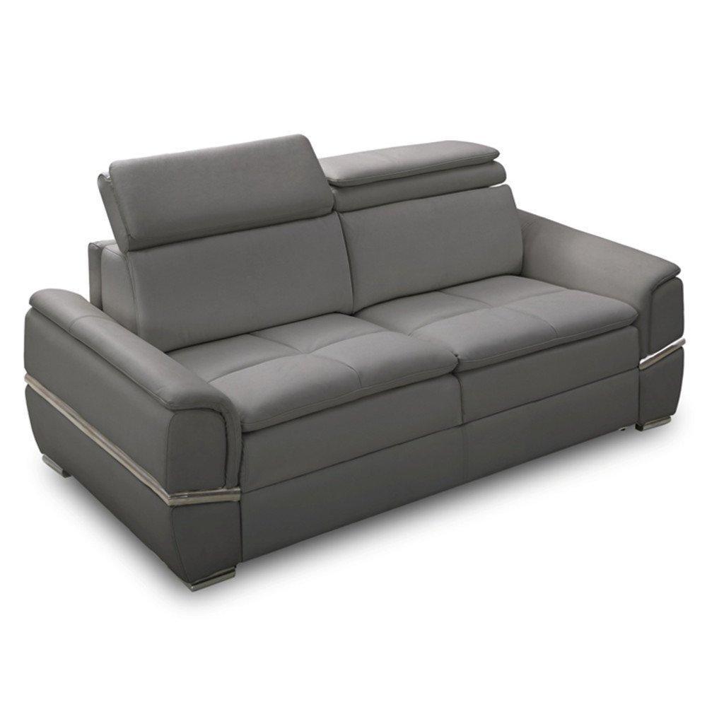 Canapé lit SALTILLO convertible 140cm RAPIDO matelas 15cm cuir recyclé gris graphite