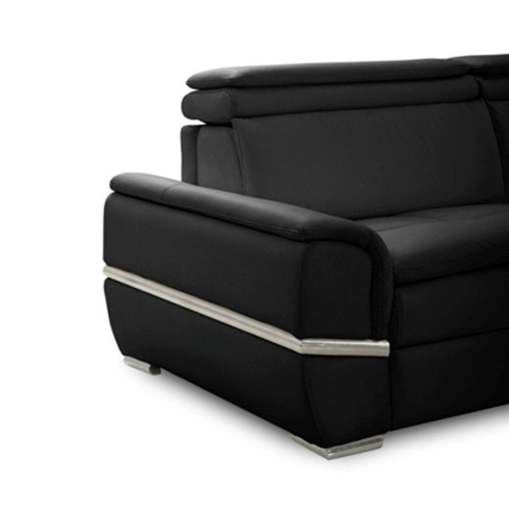 Canapé lit SALTILLO convertible 140cm ouverture RAPIDO matelas 15cm cuir vachette recyclé noir