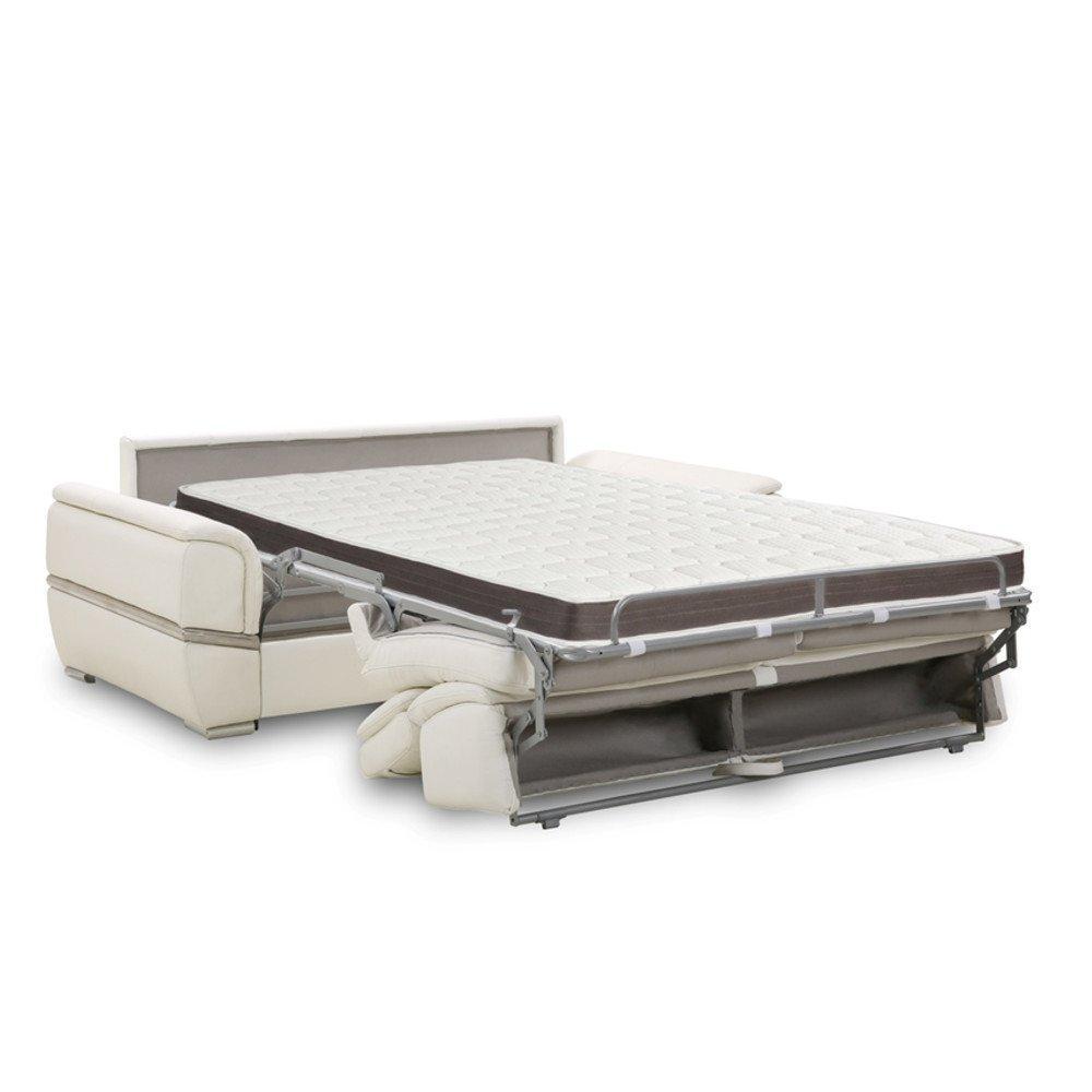 Canapé lit SALTILLO convertible 140cm RAPIDO matelas 15cm nubucka gris souris