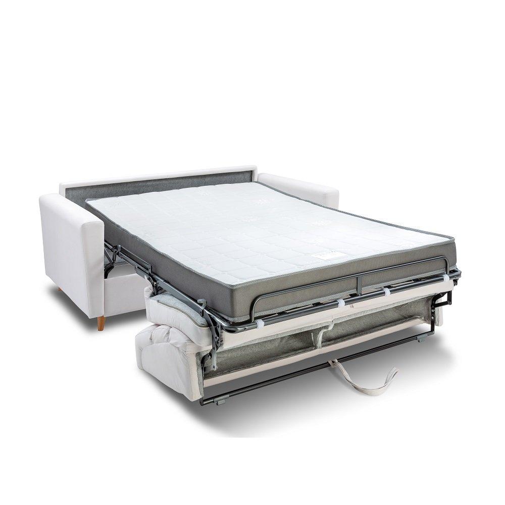 Canapé STORMIO convertible express 160 cm sommier lattes matelas 16 cm dossier haut