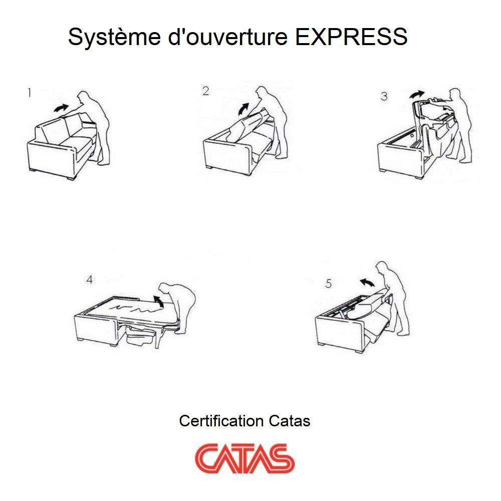 Canapé convertible express SUN LIMITED 140 cm matelas 14 cm velours taupe