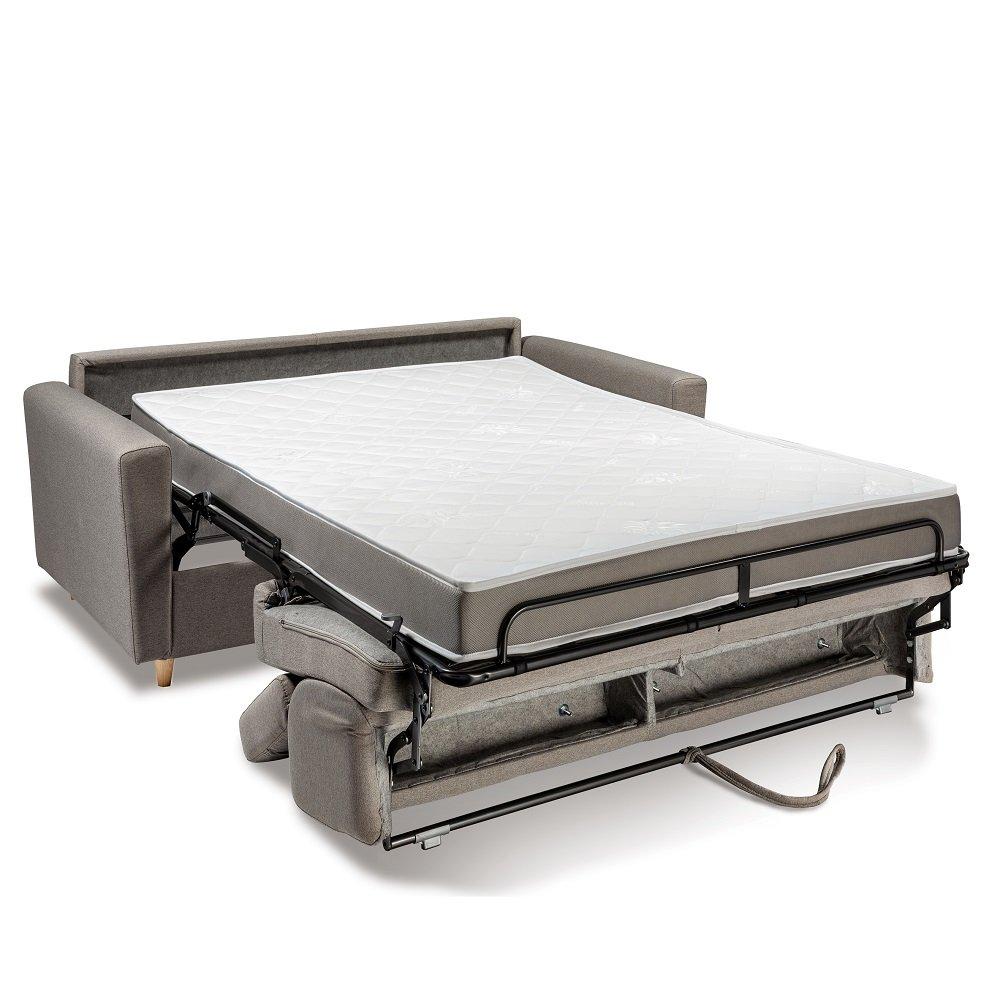 Canapé WAGRAM convertible express matelas 16 cm sommier lattes 140 cm têtières ajustables
