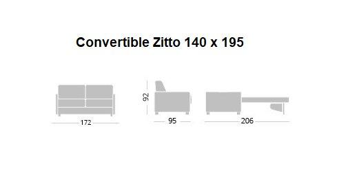 Canapé Convertible express ZITTO Encombrement ouvert : 206 cm couchage 140 sommier lattes piétement hêtre naturel