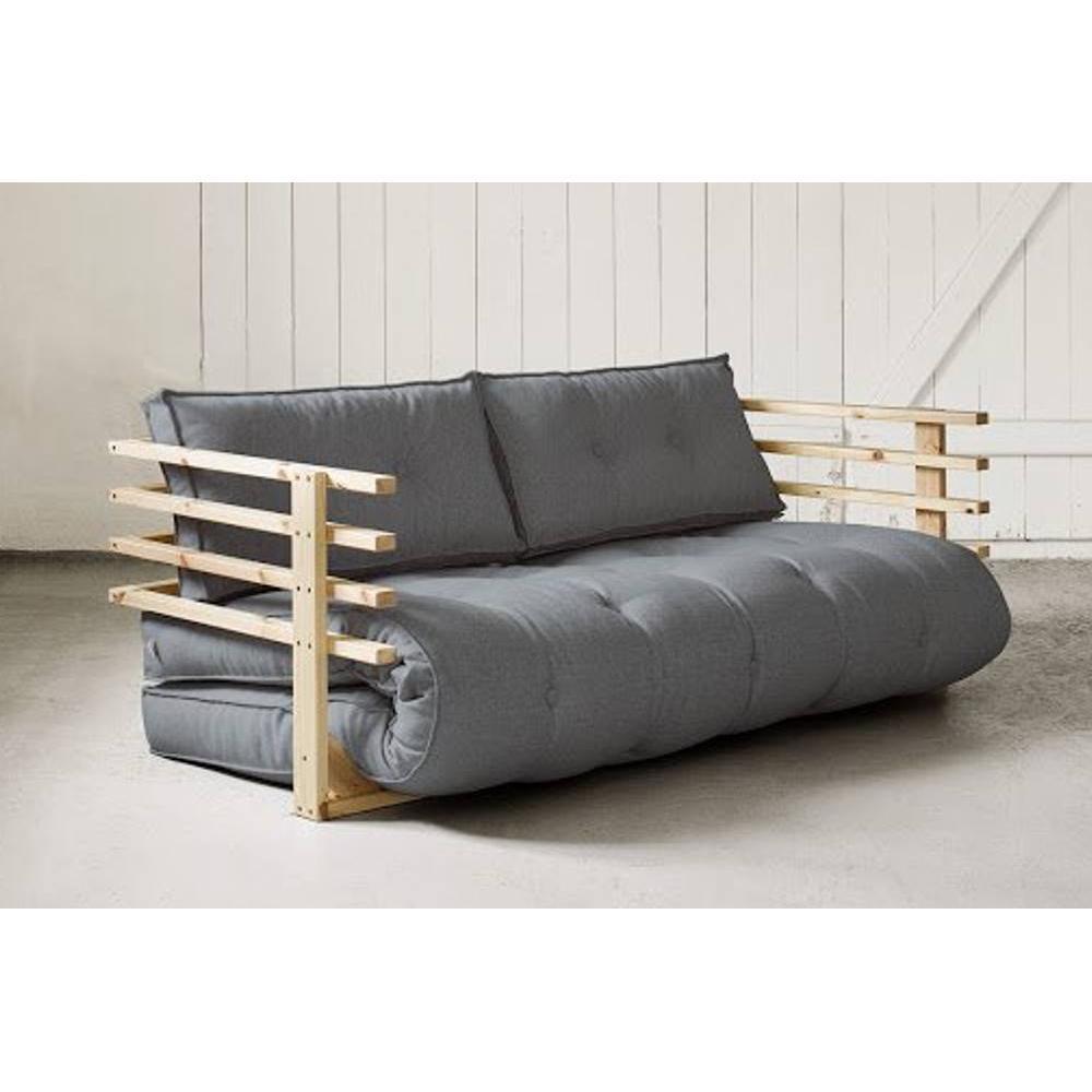 canap convertible en pin massif funk futon gris couchage 160 190cm ebay. Black Bedroom Furniture Sets. Home Design Ideas