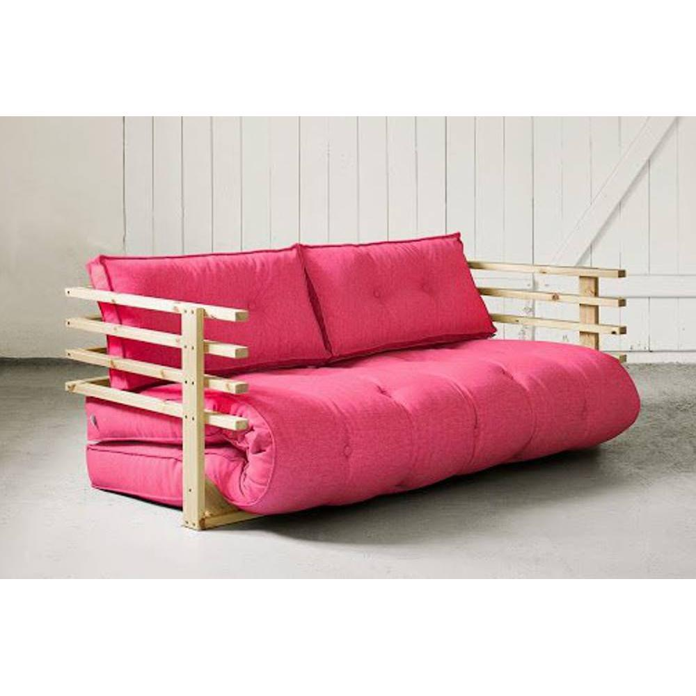 Canap convertible en pin massif funk futon rose magenta couchage 160 190cm - Canape convertible futon ...