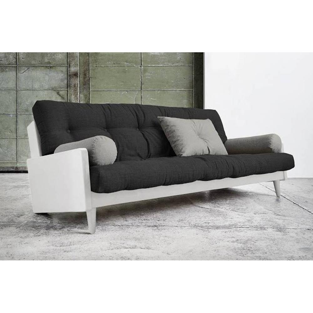 Canapé blanc 3/4 places convertible INDIE futon dark grey couchage 130*190cm