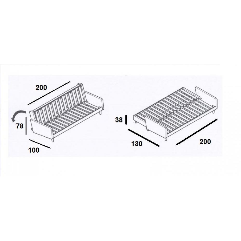 Canapé blanc 3/4 places convertible INDIE matelas futon couchage 130*190cm
