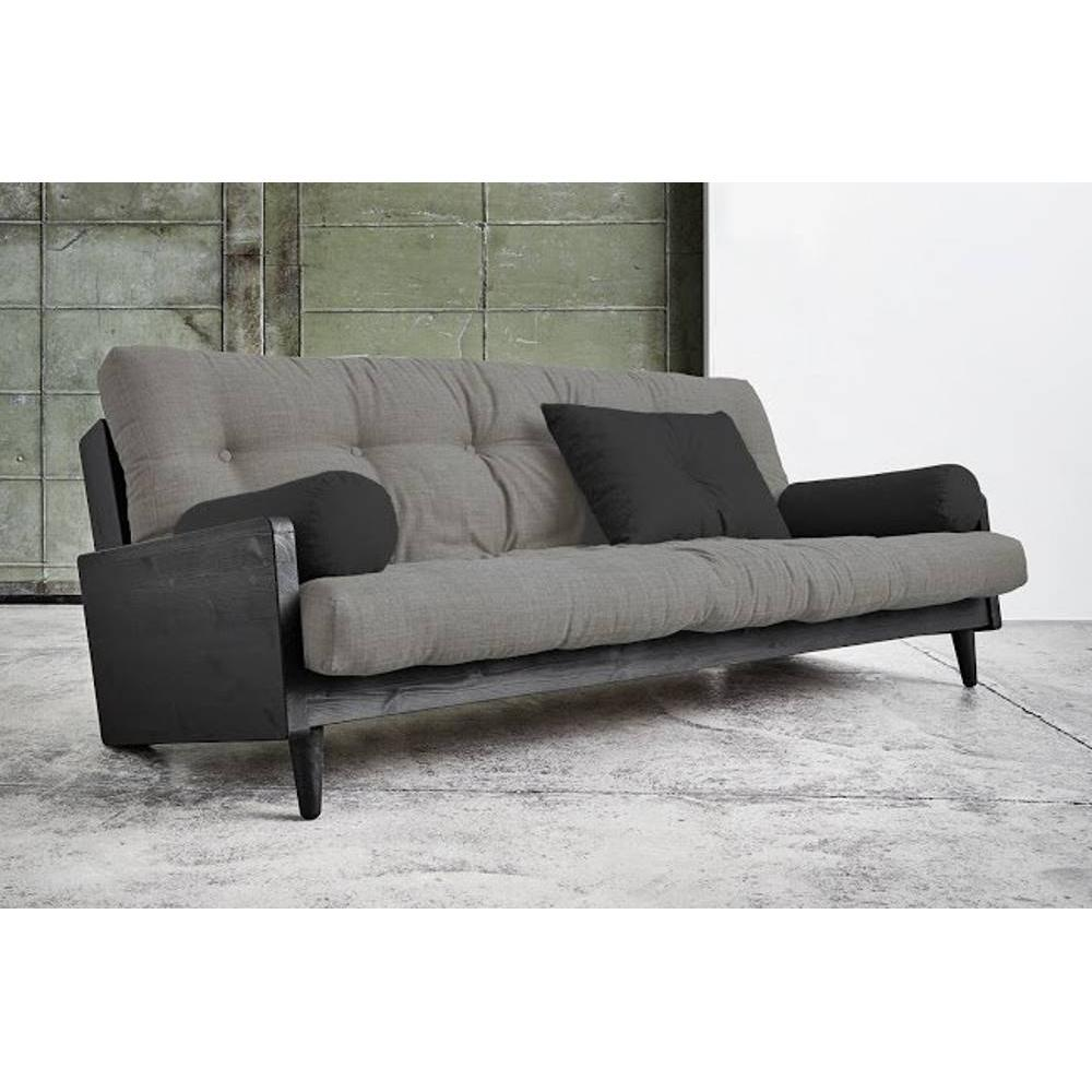 canap convertible au meilleur prix canap noir 3 4 places convertible indie futon granite grey. Black Bedroom Furniture Sets. Home Design Ideas