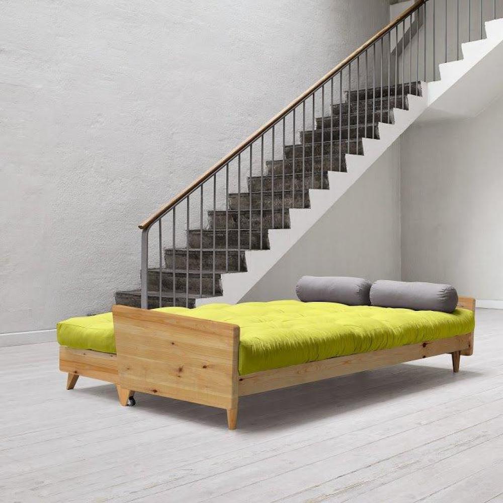 Canapé 3/4 places convertible INDIE style scandinave futon pistache couchage 130*190cm