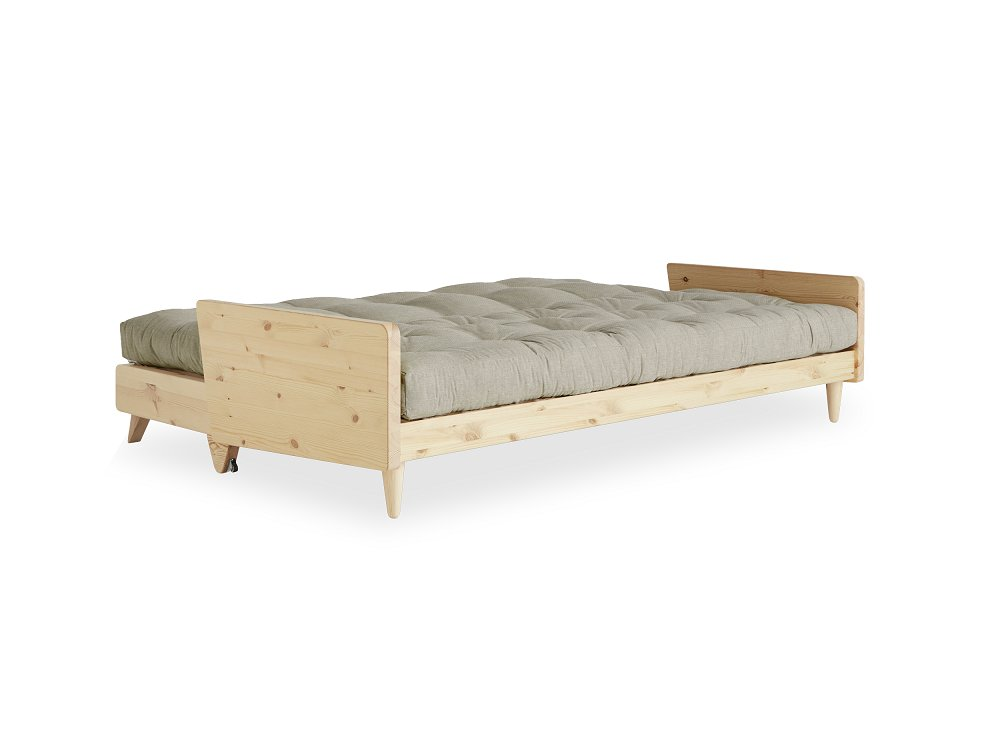 Canapé 3 places convertible INDIE style scandinave futon lin couchage 130*190 cm.