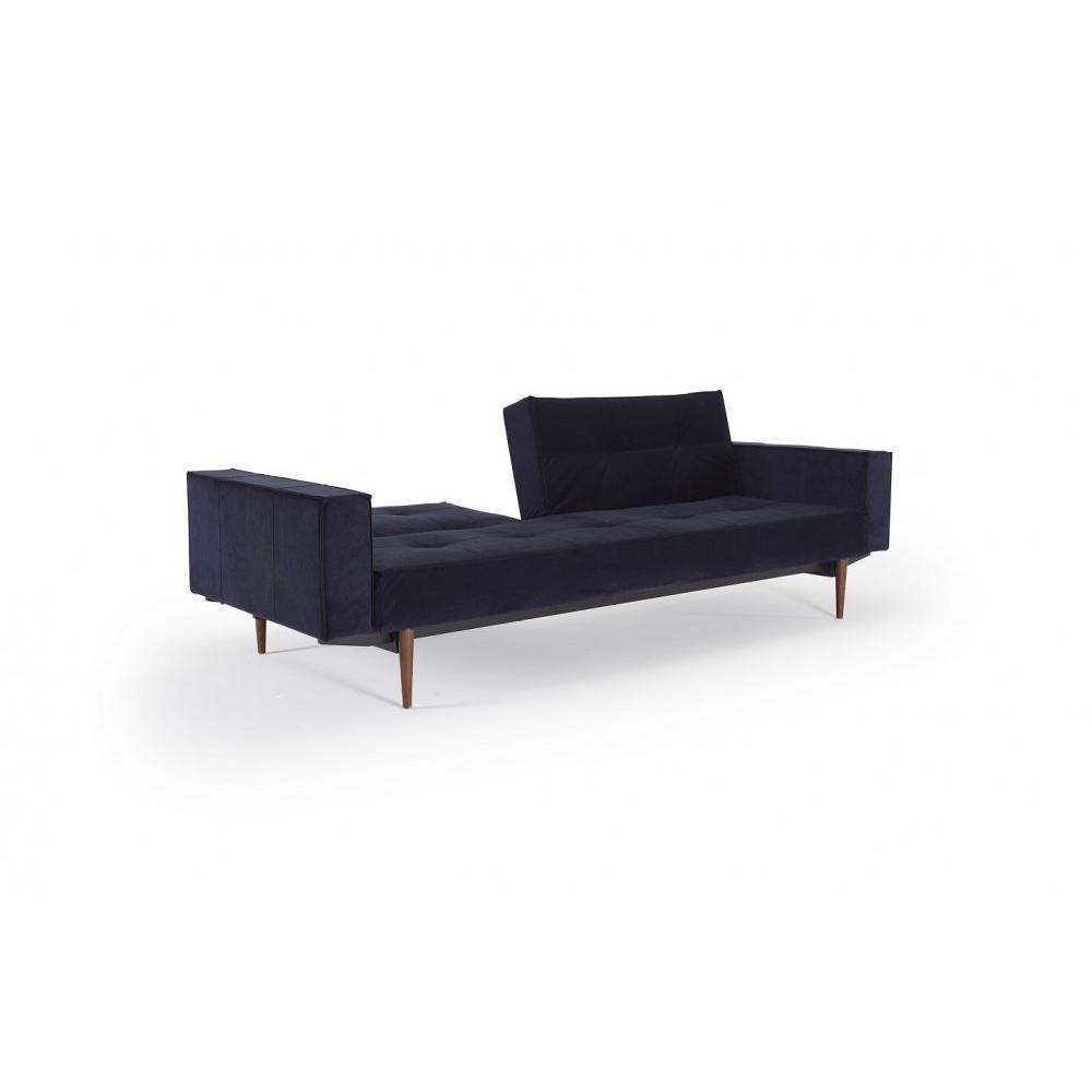 INNOVATION LIVING  Canape design SPLITBACK STYLETTO accoudoirs tissu Velvet Dark Blue convertible lit 115*200 cm piétement noyer