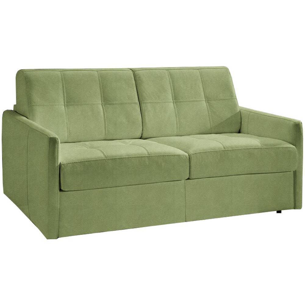 Canapé convertible CUBE en microfibre vert couchage 140cm ouverture express sommier lattes RENATONISI