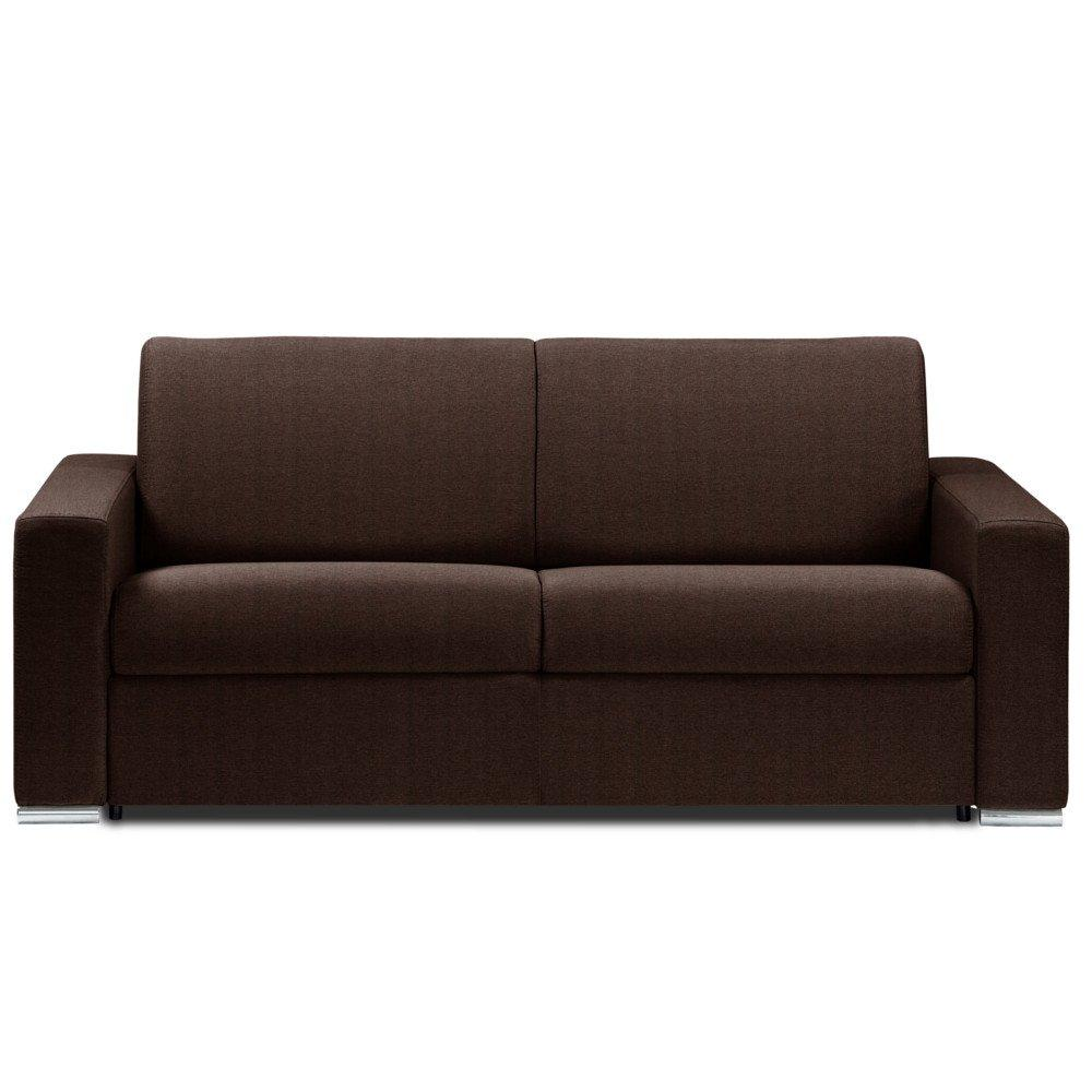 Canapé lit DREAMER OUVERTURE RAPIDO RENATONISI sommier lattes 140cm matelas 14cm tissu microfibre marron