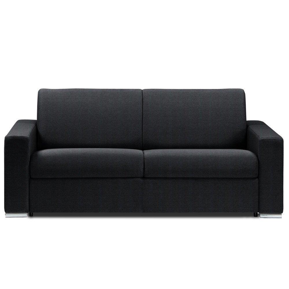 Canapé lit DREAMER OUVERTURE EXPRESS RENATONISI sommier lattes 140cm matelas 14cm tissu microfibre noir
