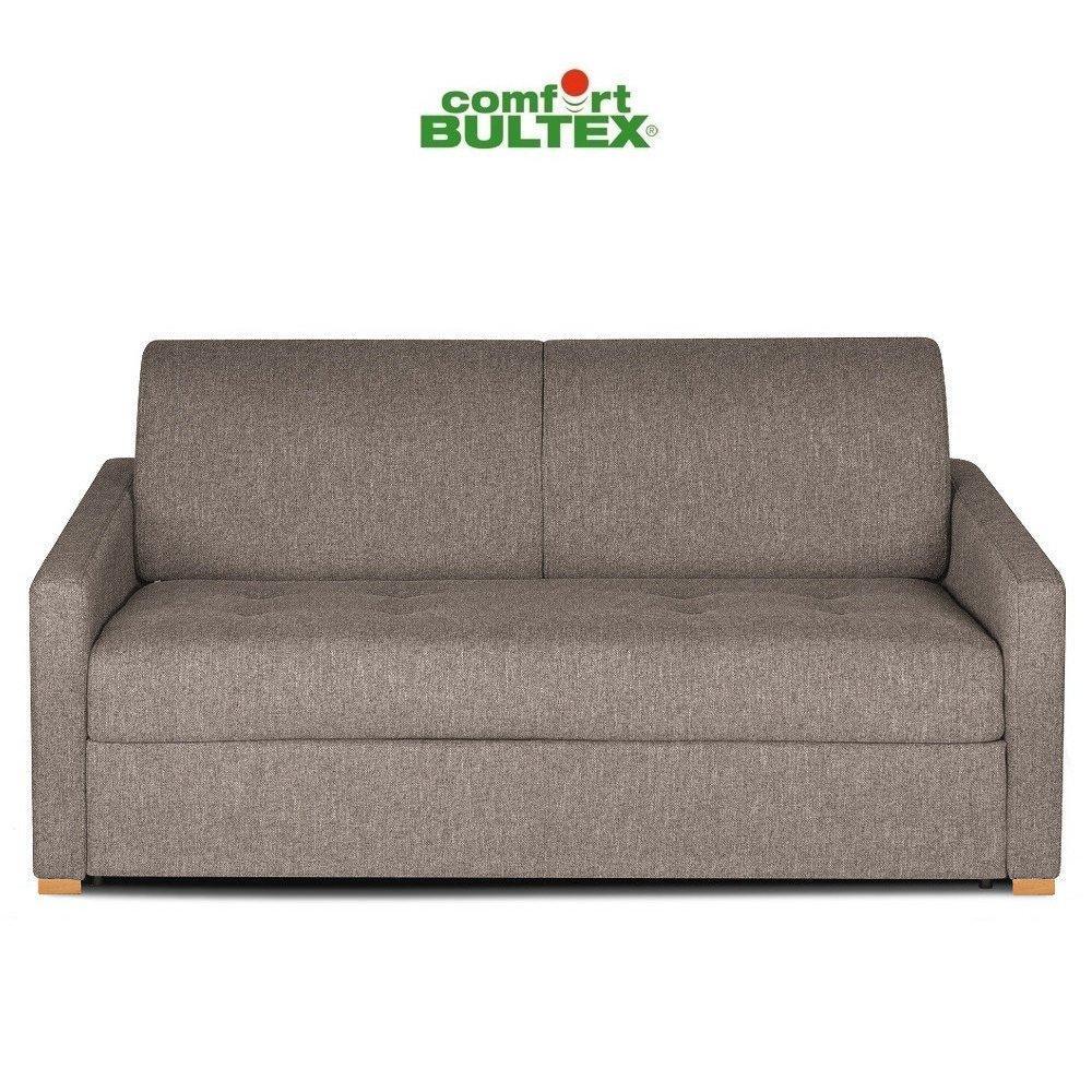 Canapé convertible rapido DANDY matelas 140cm comfort BULTEX® mono assise capitonnée tissu microfibre taupe