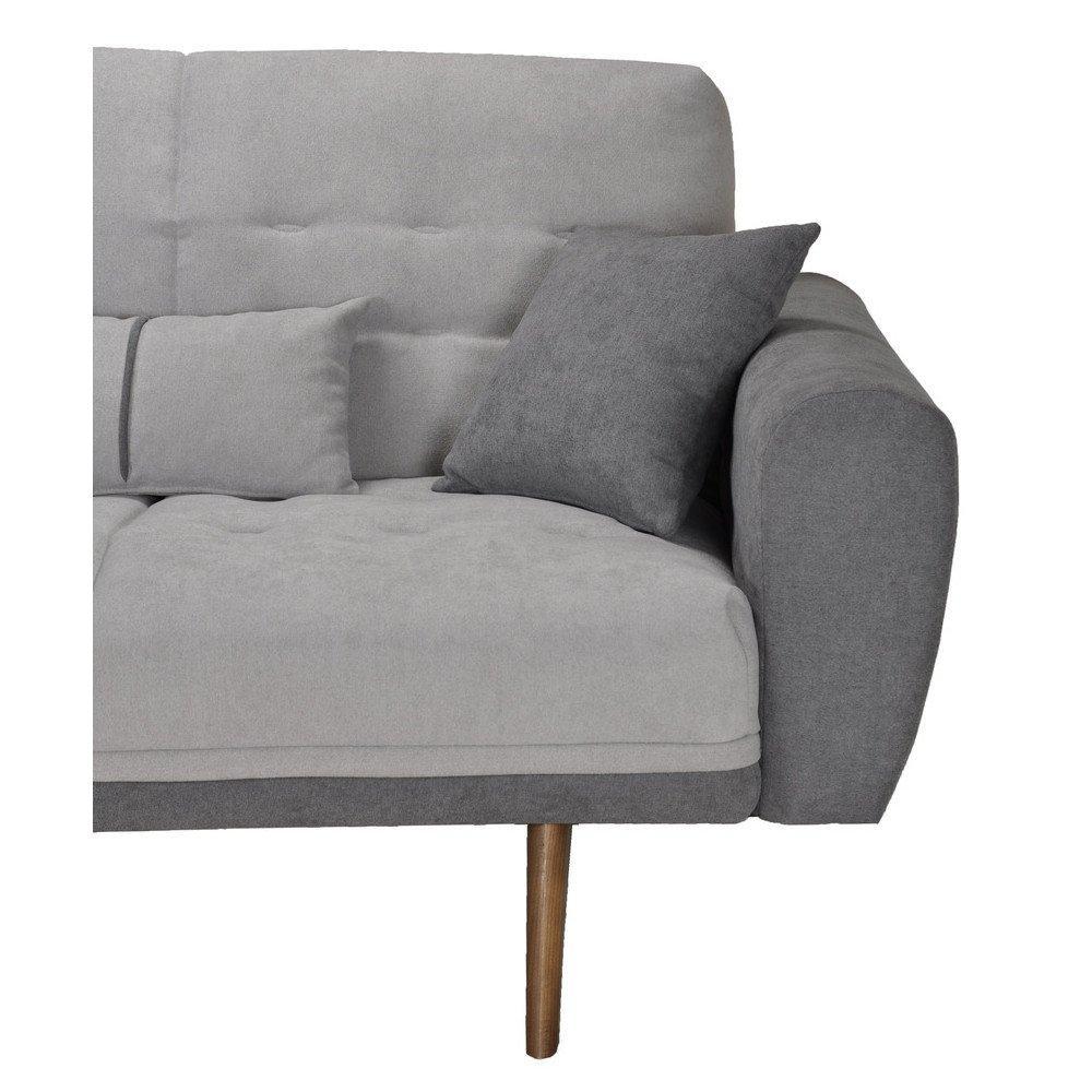 Canapé convertible lit design LIBERTY tissu gris piétement vintage noyer