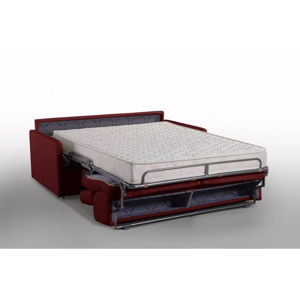 Canapé lit MONTMARTRE en microfibre bordeaux convertible rapido couchage 140cm matelas 18cm sommier lattes RENATONISI