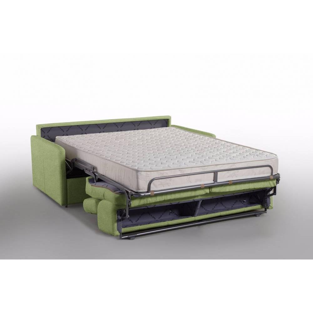 Canapé lit MONTMARTRE en microfibre vert convertible rapido couchage 140cm matelas 18cm sommier lattes RENATONISI