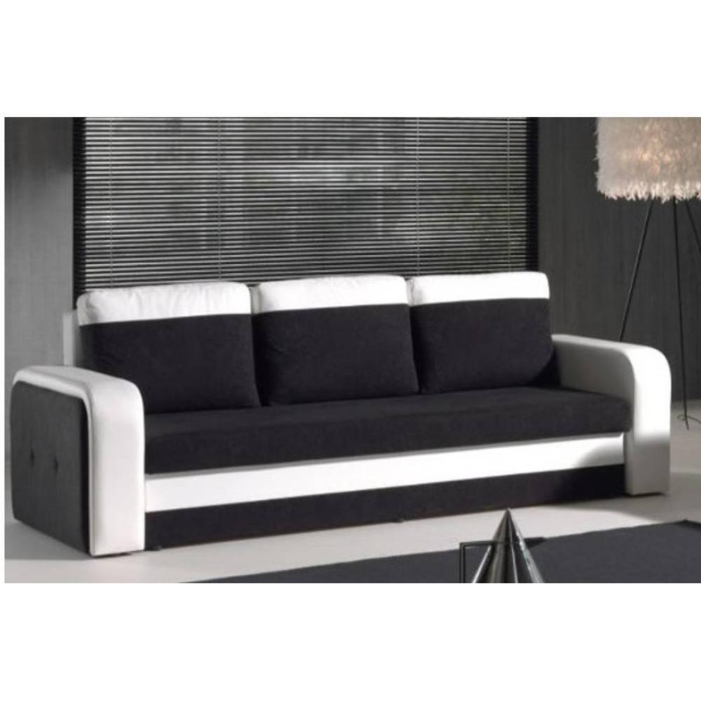 Canap lit gigogne au meilleur prix canap convertible nyx en bi mati re noir et blanc inside75 for Canape noir et blanc convertible