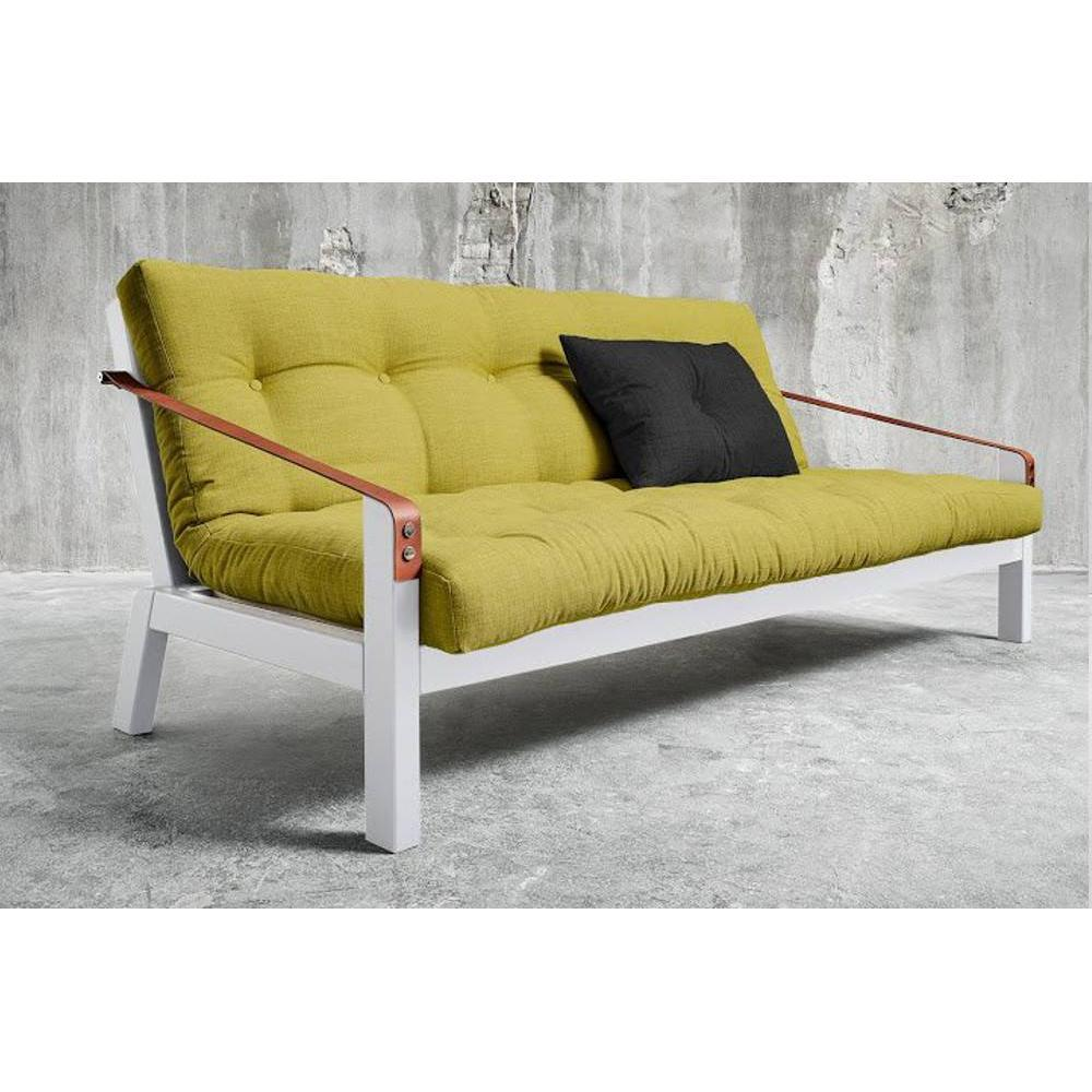Canapé blanc 3/4 places convertible POETRY futon vert avocat couchage 130*190cm