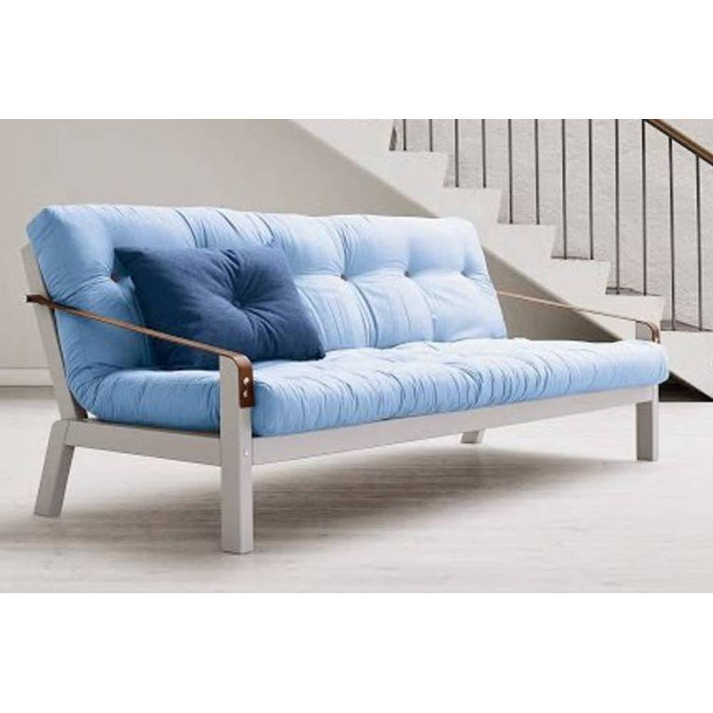 canap lit clic clac au meilleur prix canap blanc 3 4 places convertible poetry futon bleu. Black Bedroom Furniture Sets. Home Design Ideas