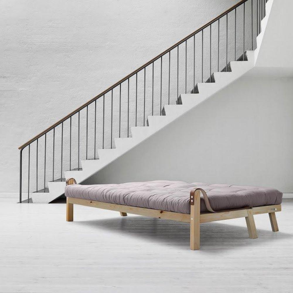 Canapé 3/4 places convertible POETRY style scandinave futon gris couchage 130*190cm