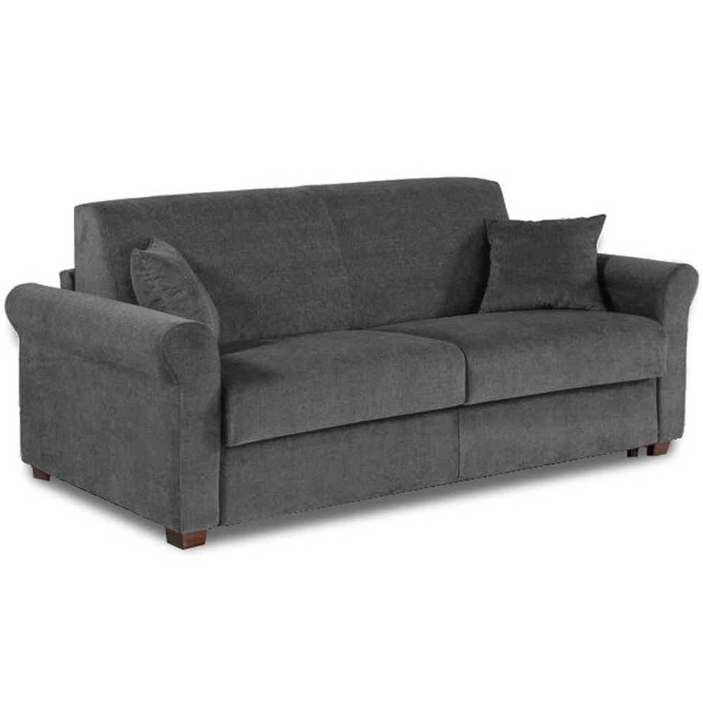 Canapé lit 3 places ROMANTICO en microfibre graphite convertible système RAPIDO 140* 197*16cm