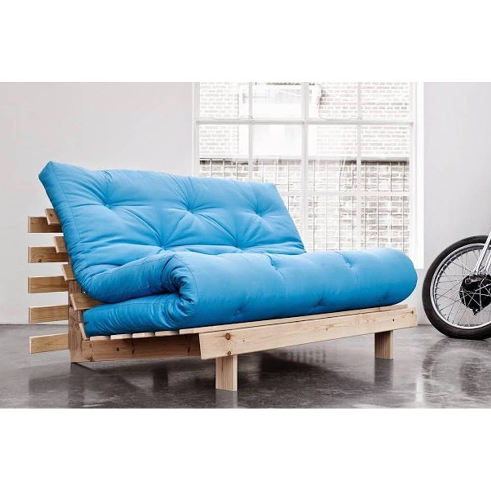canap convertible bz au meilleur prix canap bz style scandinave roots natural futon bleu azur. Black Bedroom Furniture Sets. Home Design Ideas