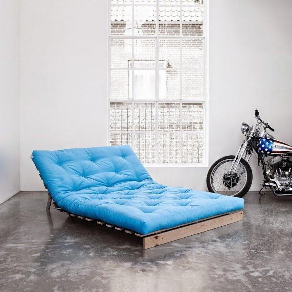 canap convertible au meilleur prix canap bz style scandinave roots natural futon bleu azur. Black Bedroom Furniture Sets. Home Design Ideas