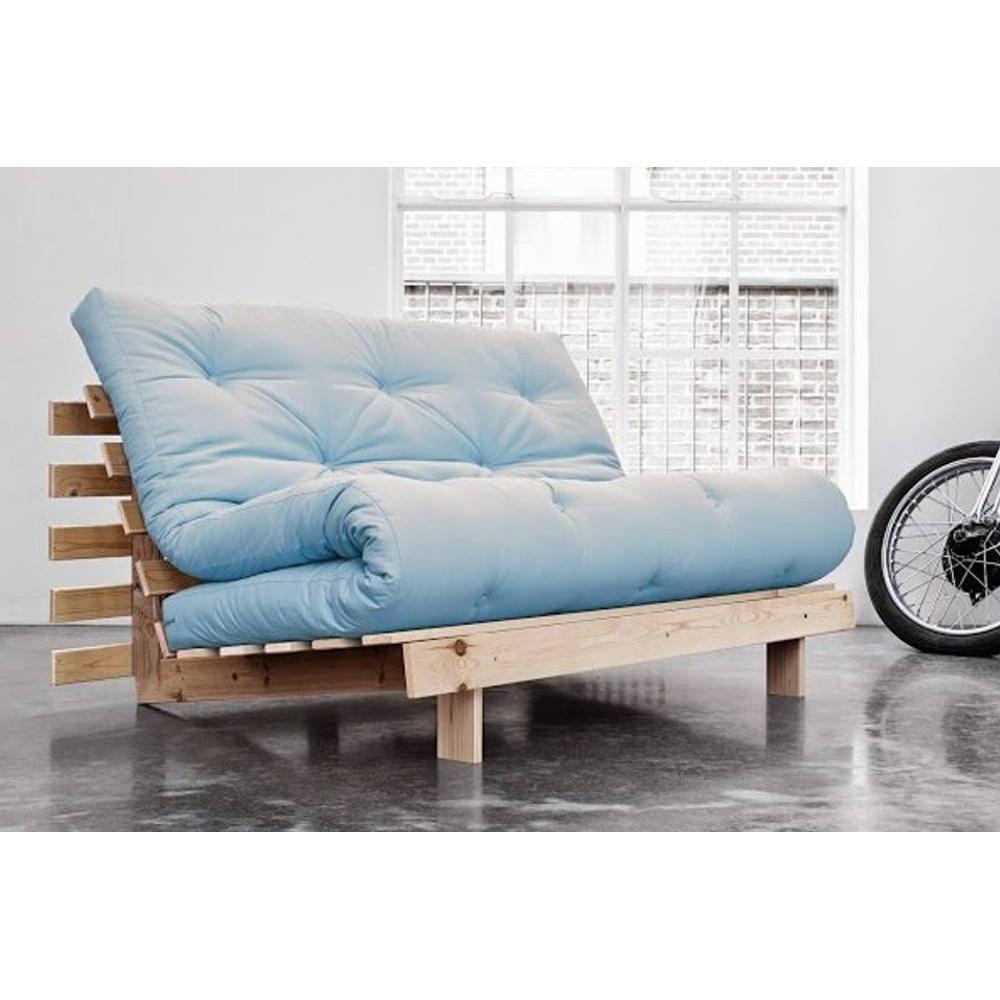 canap convertible au meilleur prix canap bz style scandinave roots natural futon bleu celeste. Black Bedroom Furniture Sets. Home Design Ideas