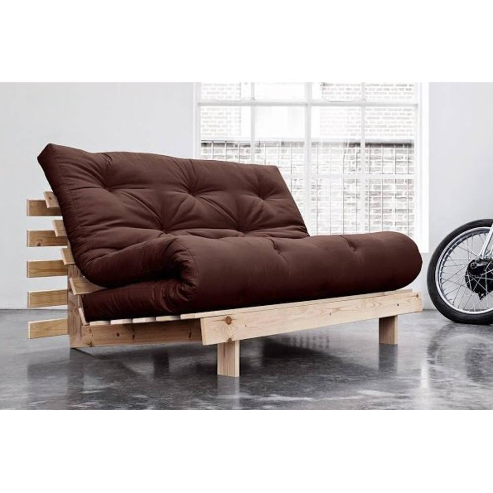 canap convertible au meilleur prix canap bz style scandinave roots natural futon marron. Black Bedroom Furniture Sets. Home Design Ideas