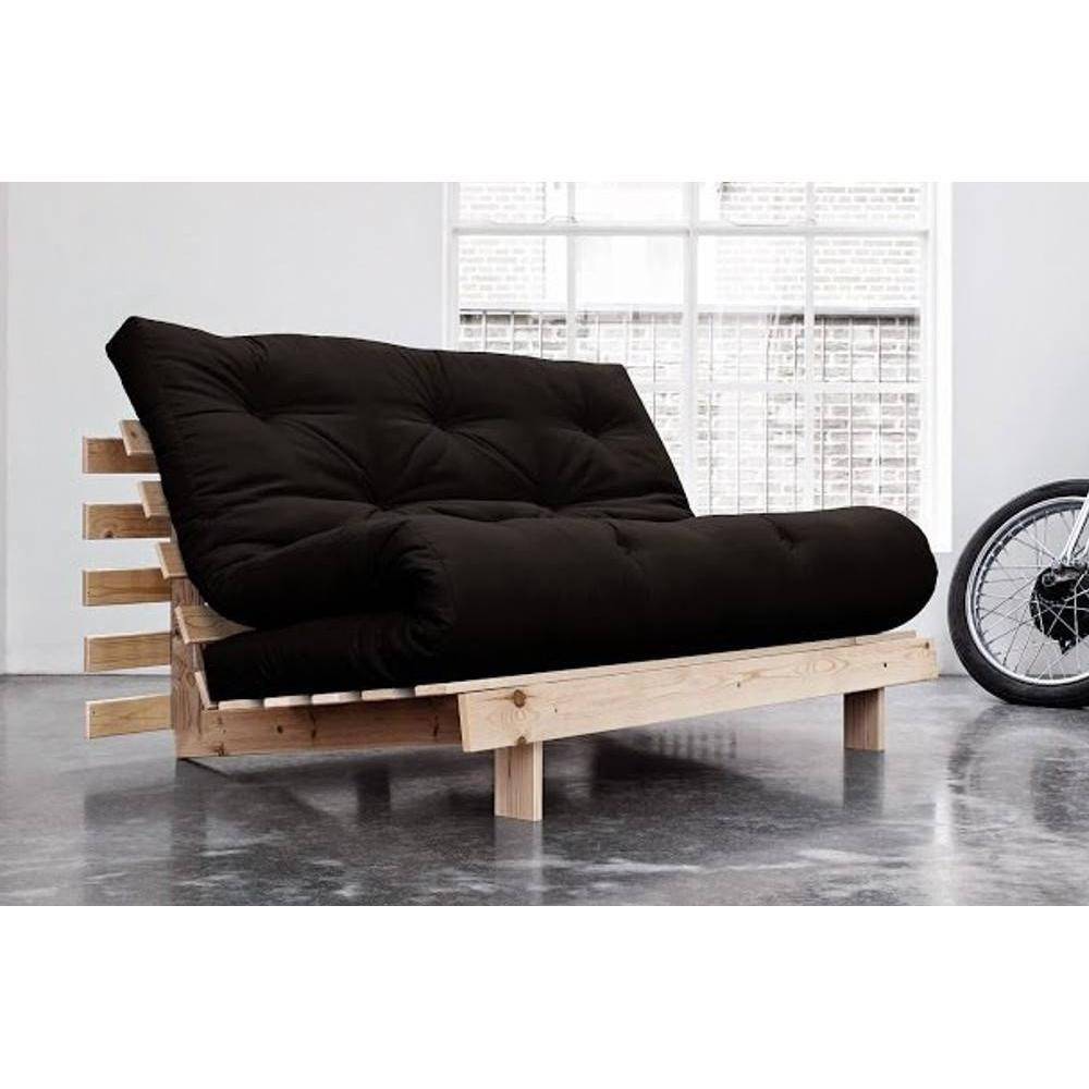 canap convertible au meilleur prix canap bz style scandinave roots natural futon noir. Black Bedroom Furniture Sets. Home Design Ideas