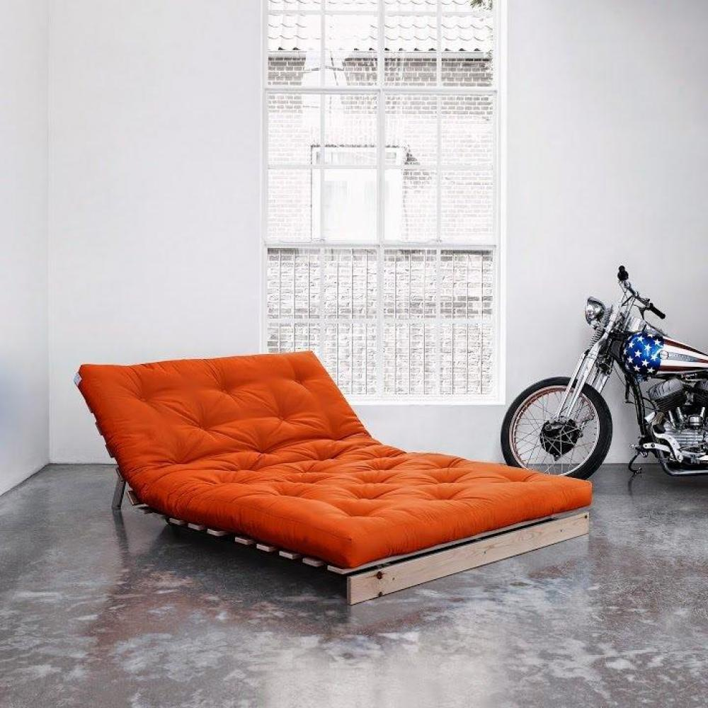 Canapé BZ style scandinave ROOTS NATURAL futon orange couchage 140*200cm