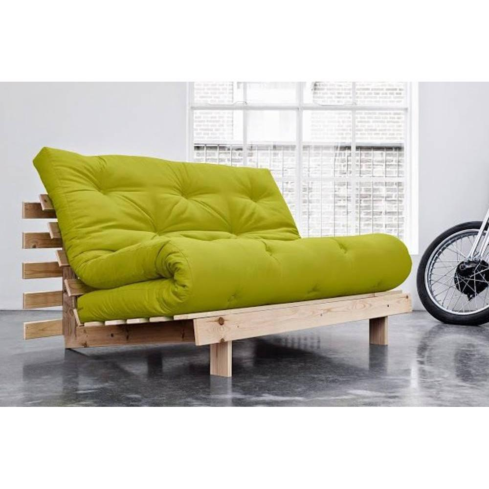 canap convertible bz au meilleur prix canap bz style scandinave roots natural futon vert. Black Bedroom Furniture Sets. Home Design Ideas