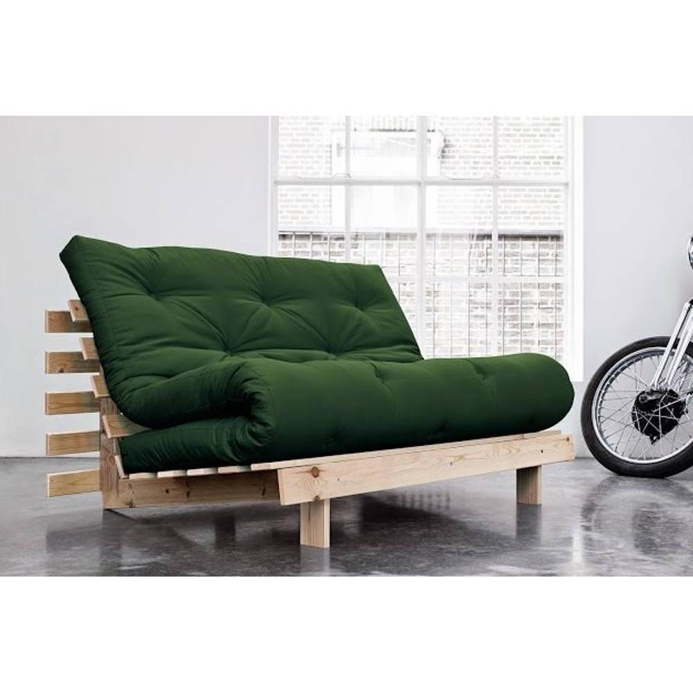 canap s futon canap s rapido canap bz style scandinave roots natural futon vert couchage 140. Black Bedroom Furniture Sets. Home Design Ideas