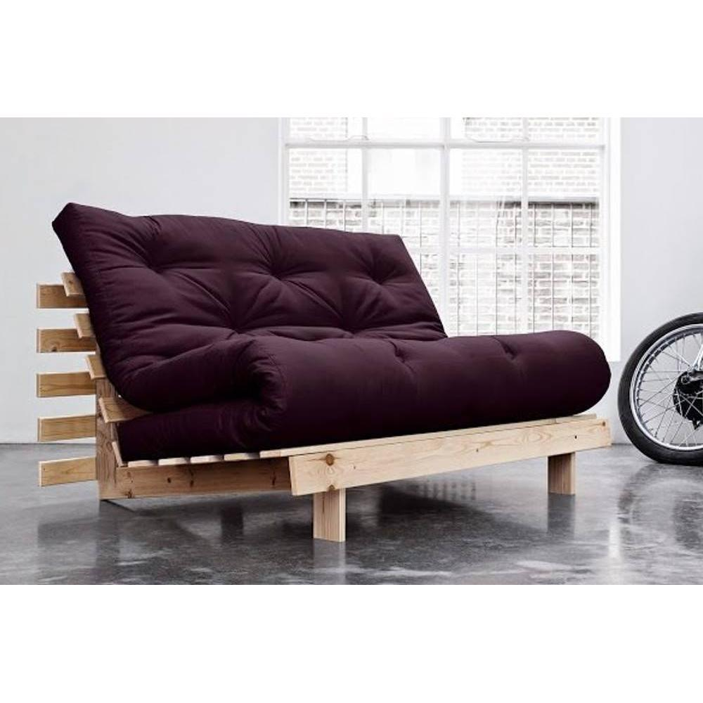canap convertible au meilleur prix canap bz style scandinave roots natural futon violet. Black Bedroom Furniture Sets. Home Design Ideas