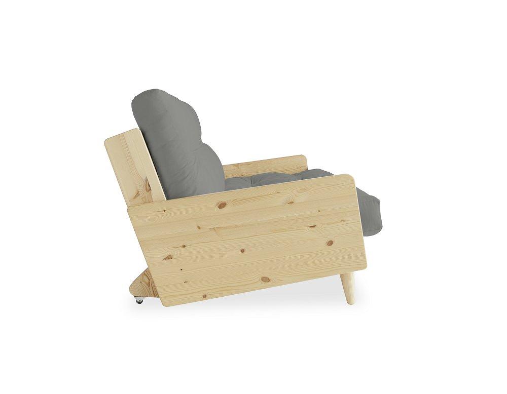 Canapé 3 places convertible INDIE style scandinave futon gris couchage 130*190 cm.