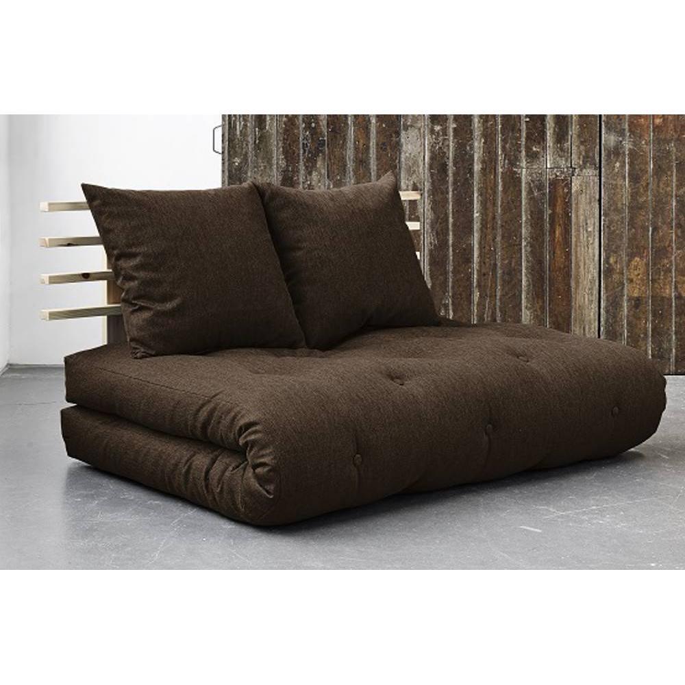 canap convertible au meilleur prix canap lit en pin massif shin sano matelas futon chocolat. Black Bedroom Furniture Sets. Home Design Ideas