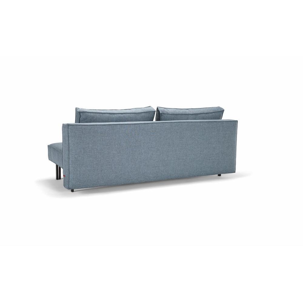 INNOVATION LIVING  Canapé design SLY convertible lit 140*200 cm pieds métal noir, tissu Mixed Dance Light Blue