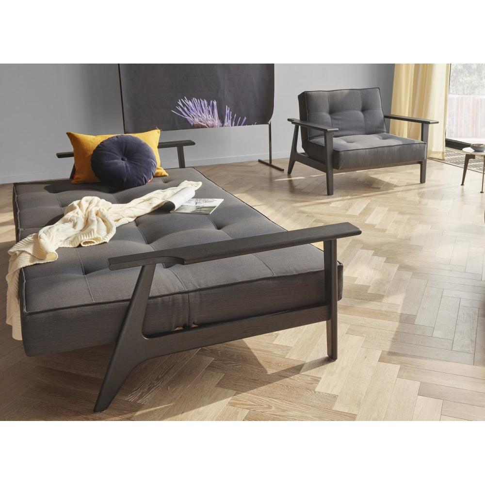 INNOVATION LIVING  Canapé SPLITBACK  FREJ convertible lit 115*200 cm accoudoirs chene noir tissu Elegance Anthracite Grey