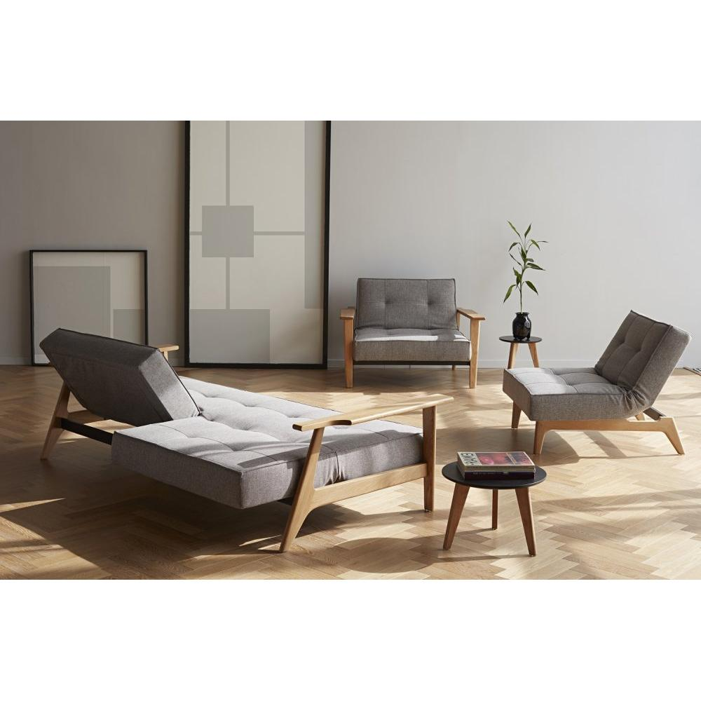INNOVATION LIVING  Canapé SPLITBACK  FREJ convertible lit 115*200 cm piétement chene tissu Mixed Dance Grey