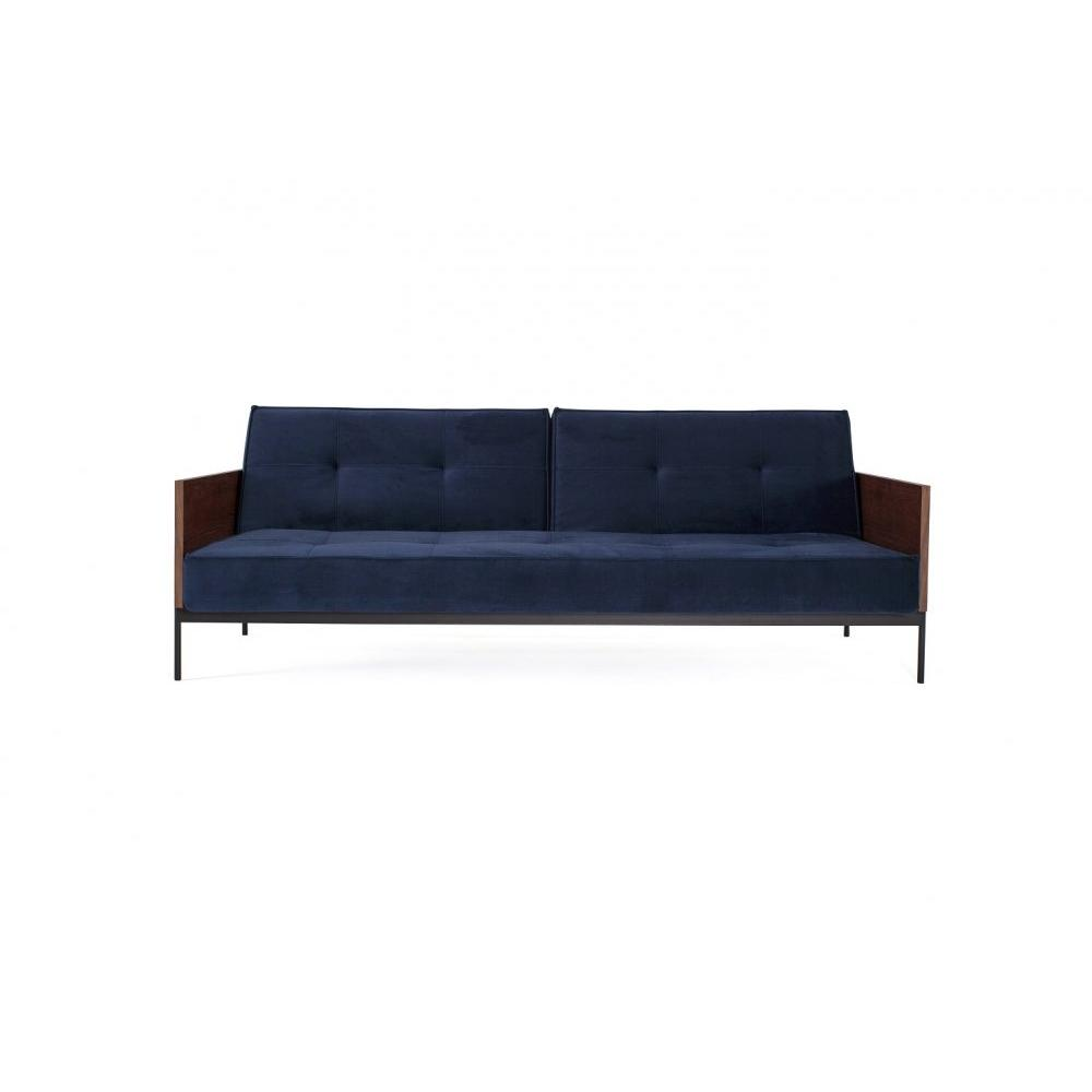 INNOVATION LIVING  Canapé SPLITBACK  LAUGE convertible lit 115*200 cm tissu Velvet Dark Blue manchettes noyer