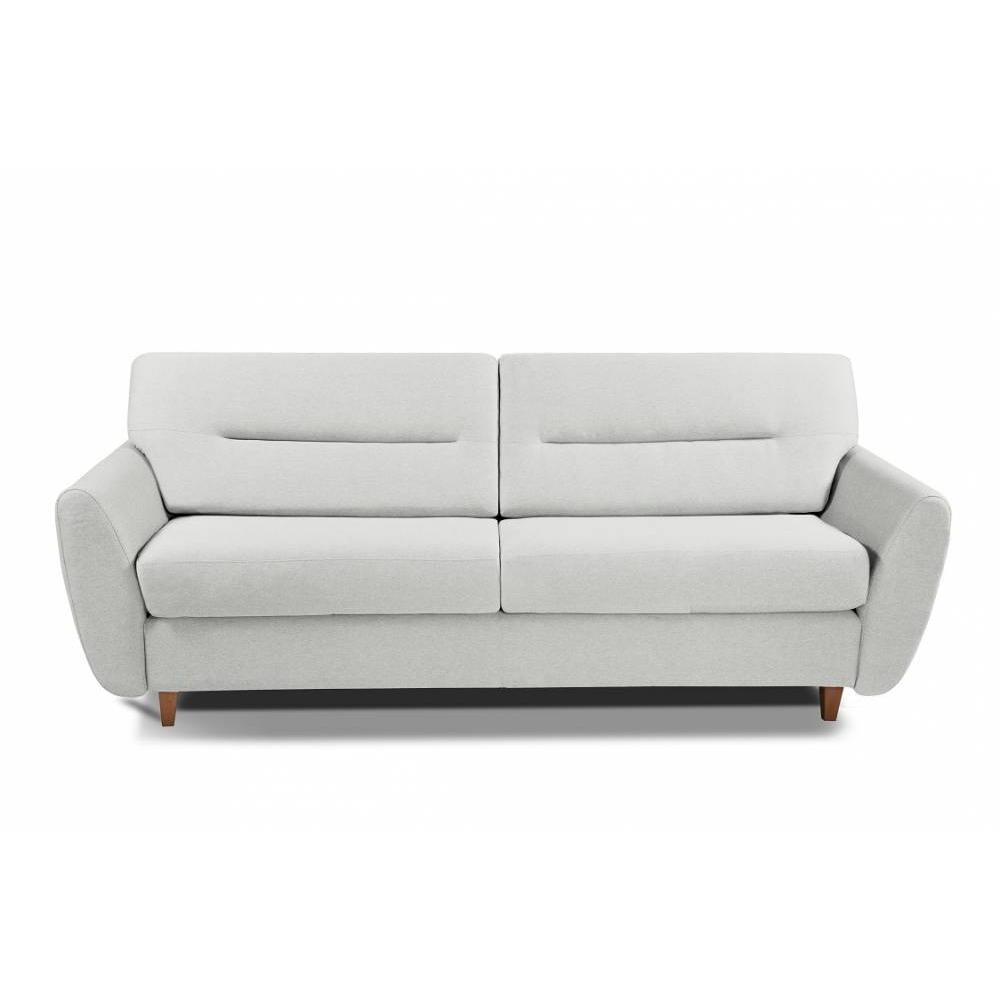 COPENHAGUE divano in pelle riciclata bianco sporco sistema letto RAPIDO 120cm materasso 15cm
